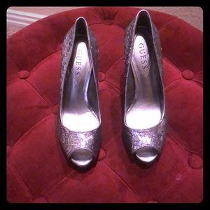 Guess silver glitter heels.